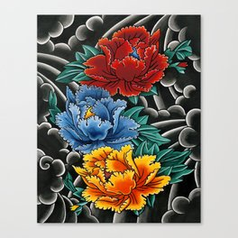 Japanese tattoo style Peonies  Canvas Print