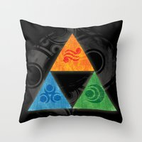triforce Throw Pillows featuring Zelda Triforce by Bradley Bailey