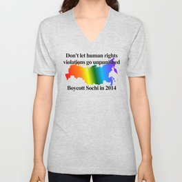 Boycott Sochi - Rainbow Flag Gradient Unisex V-Neck