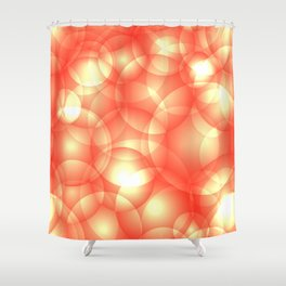 Gentle intersecting orange translucent circles in pastel shades with glow. Shower Curtain