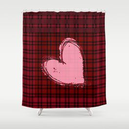 Heart on Flannel Shower Curtain