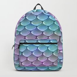 Pink And Turquoise Glamour Mermaid Scale Pattern Backpack