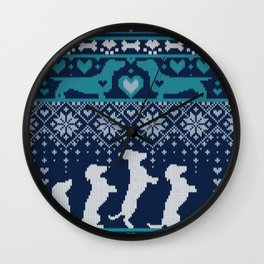 Fair Isle Knitting Doxie Love // navy blue background white and teal dachshunds dogs bones paws and hearts Wall Clock