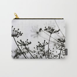 Black and white dill flower silhouette Carry-All Pouch