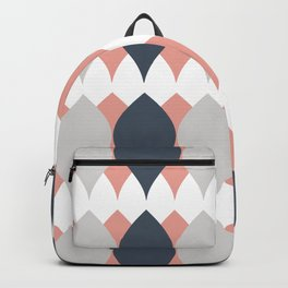 Geometric Pink Gray White Diamond Petals and Leaf Pattern Backpack