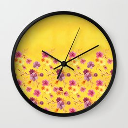 Golden // Sunny Floral Print Wall Clock