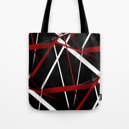 Seamless Red and White Stripes on A Black Background Tote Bag
