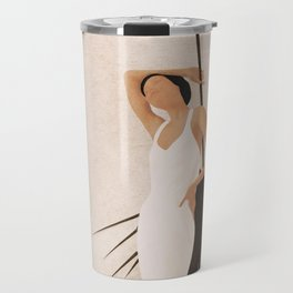 Minimal Woman with a Palm Leaf Travel Mug