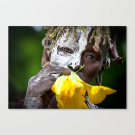 Suri woman with flower Canvas Print