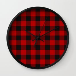Red and black squares plaid print Wall Clock