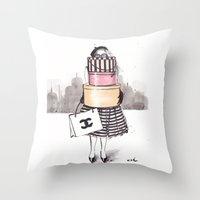 shopping Throw Pillows featuring Shopping Junkie by anna hammer