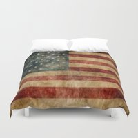 american flag Duvet Covers featuring American Flag by KOverbee