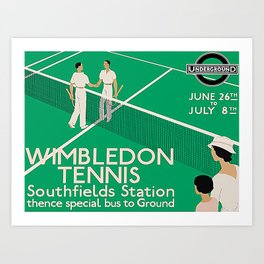 1933 Wimbledon Tennis Poster, vintage tennis posters, vintage wimbledon poster print, french open, u.s. open, rolled canvas, wall decal Art Print
