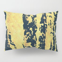 Conquer: a bold, pretty abstract piece in gold and midnight blue Pillow Sham