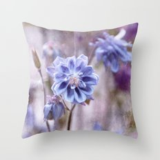 Columbines blue Throw Pillow