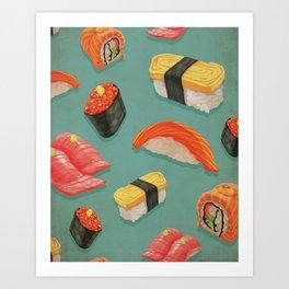 Kitschy Sushi Pattern On Teal Background - Tuna California Roll, Sashimi Art Print