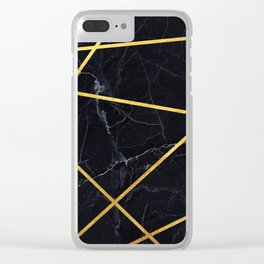 Black marble with gold lines Clear iPhone Case
