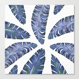 Tropical Banana Leaves Blue #society6 #buyart Canvas Print