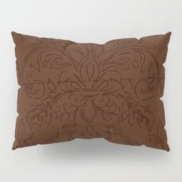 Dark Chocolate Damask Line Work Fleur de Lis Pattern Artwork Pillow Sham