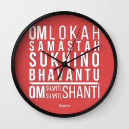Lokah Samastah Mantra Yoga Pink Wall Clock