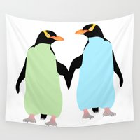 maori Wall Tapestries featuring Gay Pride Penguins Holding Hands by mailboxdisco