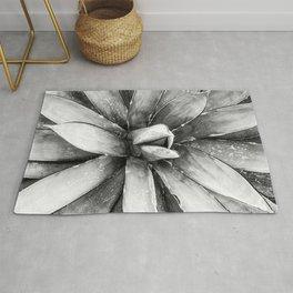 Cactus Decor // Black and White Succulent Leaves Desert Square Photograph Rug