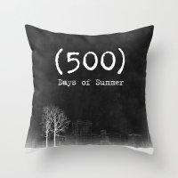 500 days of summer Throw Pillows featuring 500 Days of Summer by DrøpDeadRian