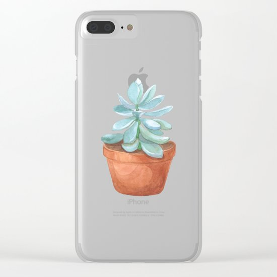 Succulent in the pot Clear iPhone Case