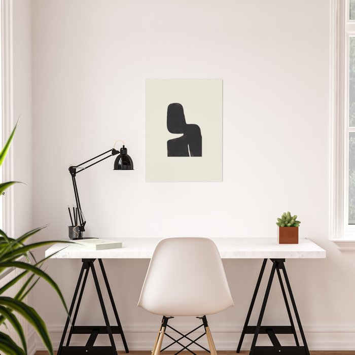 Black & White Minimalist Abstract Shapes Patterns Black Ink Painting Poster