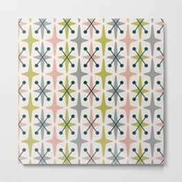 Mid Century Modern Abstract Star Pattern 222 Teal Chartreuse Dusty Rose and Gray Metal Print
