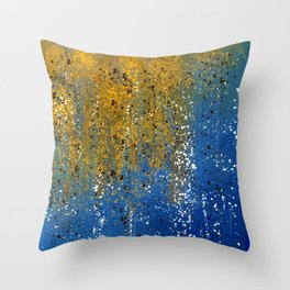 Abtract with Blue, Copper, Bronze, and White Throw Pillow
