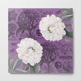 White Peony Purple Collage Metal Print
