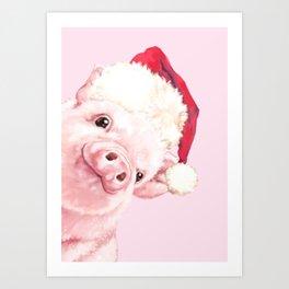 Sneaky Santa Baby Pig Art Print