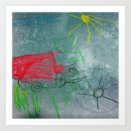 Tractor Red Art Print