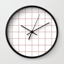 Graph Paper (Maroon & White Pattern) Wall Clock