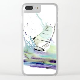 Windurfer - Surfart in watercolor - Surf Decor Clear iPhone Case