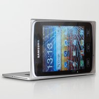samsung Laptop & iPad Skins featuring iPhone crashes Samsung by CrazyWorld