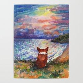 Corgi - sunset adorer Poster