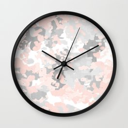 camo pink and grey abstract brushstrokes modern canvas art decor dorm college Wall Clock