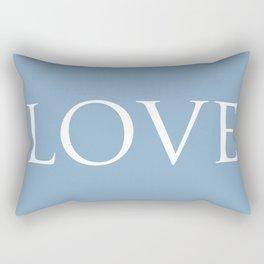 Love word on placid blue background Rectangular Pillow