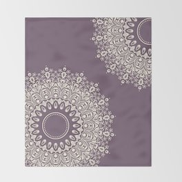 Lace in White on Pale Purple Background Throw Blanket