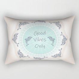 Good Vibes Only Dolphins Mint Tan Rectangular Pillow