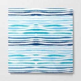 Irregular Watercolour Stripes Metal Print