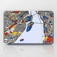 montreal iPad Cases featuring montreal mondrian map by Mondrian Maps