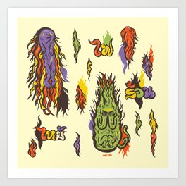 Fire monsters Art Print