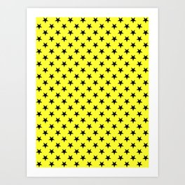 Black on Electric Yellow Stars Art Print