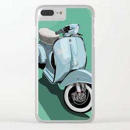 Vespa bluish Clear iPhone Case