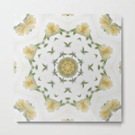 Creamy Yellow Rose Kaleidoscope Art 4 Metal Print
