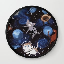 Cat Space Wall Clock