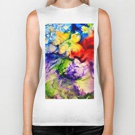 Abstract Encaustic Colorful Flowers, Biker Tank